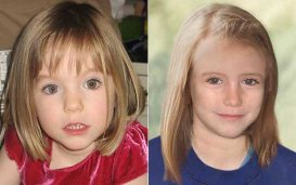 Madalaine McCann at the age of three and an impression of how she might look now